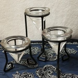 Set of 3 Glass Candle Holders Wrought Iron Stands